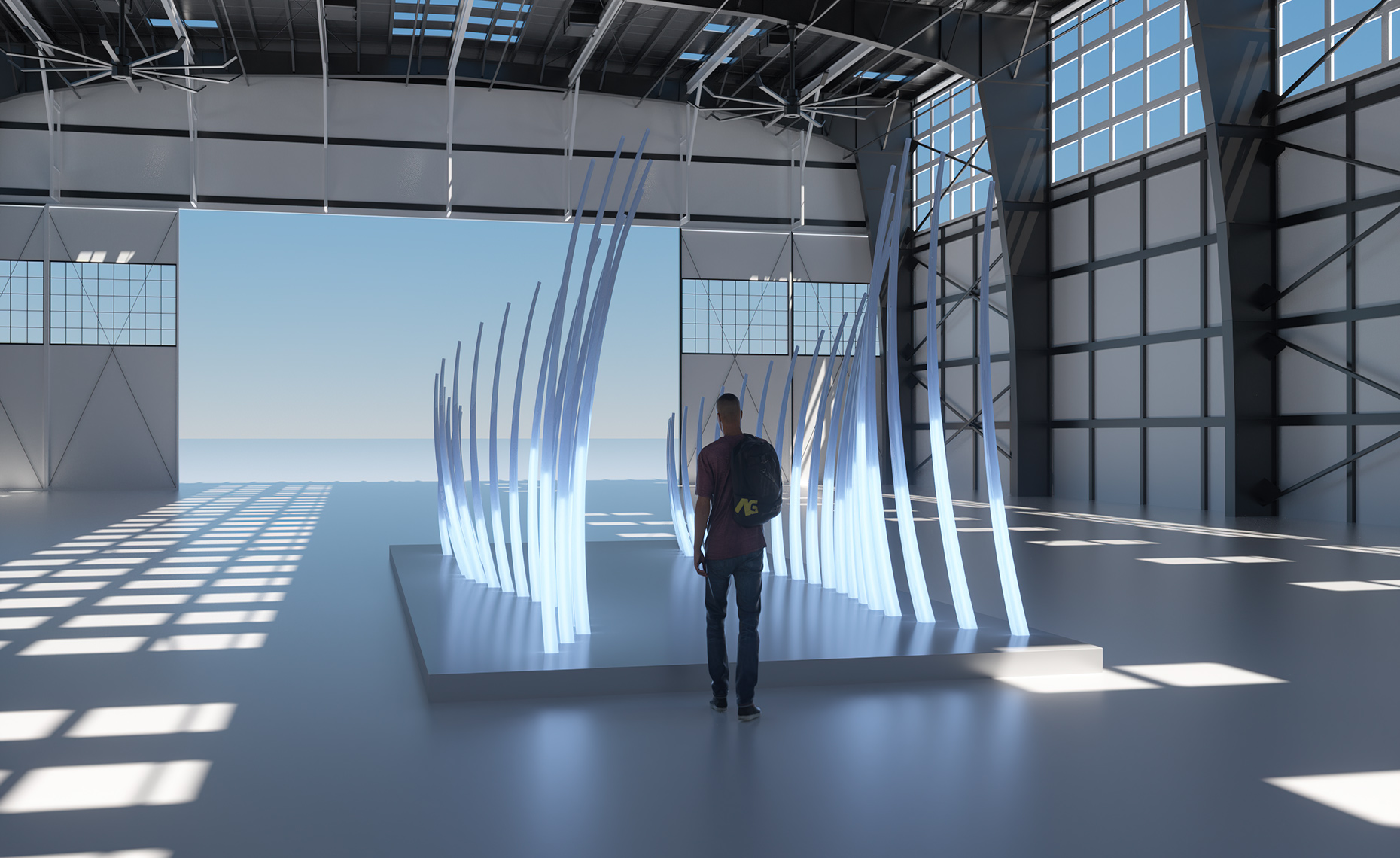 UNI-VERSE Sculpture - In Situ Hangar View - 1